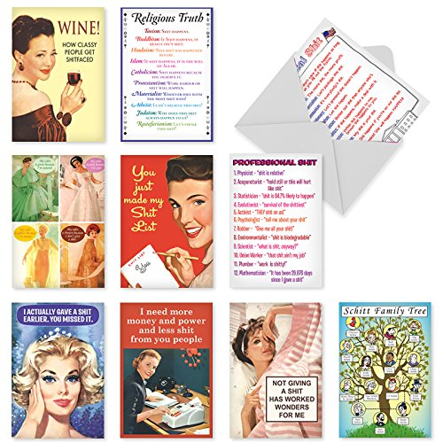 A1247 STINKIN CARDS: Assorted Box Of 10 Hilarious Birthday Cards, W/12 Envelopes (10 Designs, 1 Card Per Design)