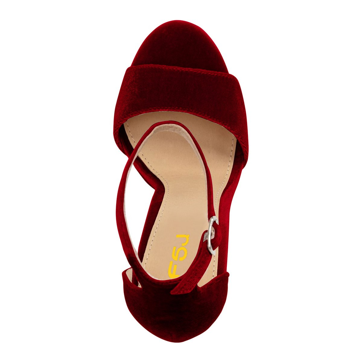 FSJ Women Sexy Ankle Strap Platform Sandals Chunky High Heel Open Toe Velvet Shoes Size 4-15 US B0796MLN1H 11 B(M) US|Wine