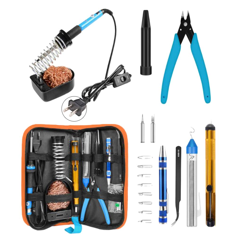 Soldering Iron Kit Adjustable Temperature Welding Kit Upgraded Welding Tool for Electric, Jewellery & Welding Work by Lin-Tong