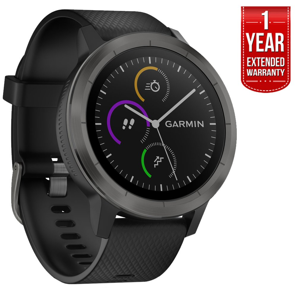 Garmin Vivoactive 3 with 1 Year Extedned Warranty (Black Gunmetal)
