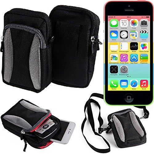 Gürteltasche, Holster / Umhängetasche für Apple iPhone 5c, schwarz-grau + Extrafach mit Platz für Powerbank, Festplatte etc. | Case travelbag Brustbeutel Brusttasche- K-S-Trade(TM) (Wir zahlen Steuern