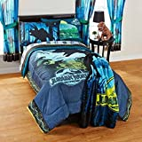4 Piece Multi Kids Universal Jurassic World Theme Comforter Twin Set, Wild Animal Movie Themed, All Over Big Dinosaur Pattern, Gorgeous Jurassic Print, Printed Reversible Bedding, Vibrant Dark Colors