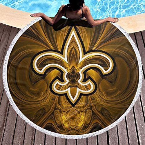 STWINW New Orleans Arrow Pattern Soft Microfiberwith Tassels Round Beach Towel Round Beach Blanket Camping Picnic Blanket Yoga Mat Circle Tablecloth Multi-Purpose Towel 59 Inch