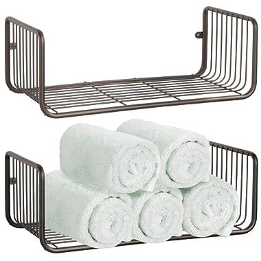 mDesign Wide Metal Wire Farmhouse Wall Decor Storage Organizer Shelf for Entryway, Hallway, Mudroom, Bedroom, Bathroom, Laundry Room - Wall Mount - 2 Pack - Bronze