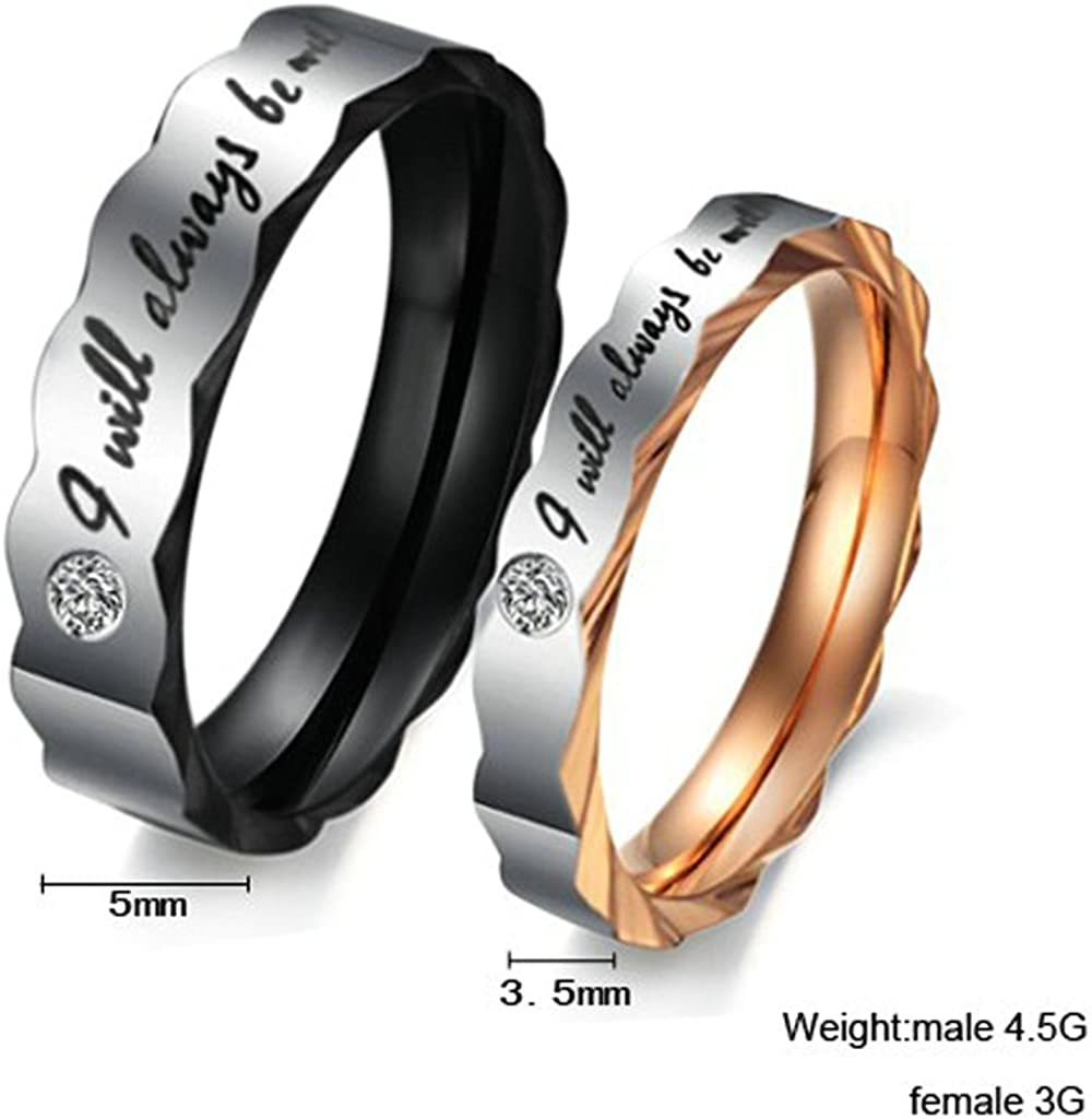 Bishilin Stainless Steel Wedding Band Couple Ring I Will Always Be With You with Cubic Zirconia Women Size 7 /& Men Size 14