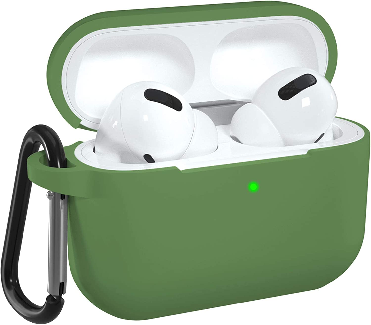 DGege Silicone Case Cover Compatible with Apple AirPods Pro, Protective Case with Carabiner for Airpods 3 (Front LED Visible), Olive Green