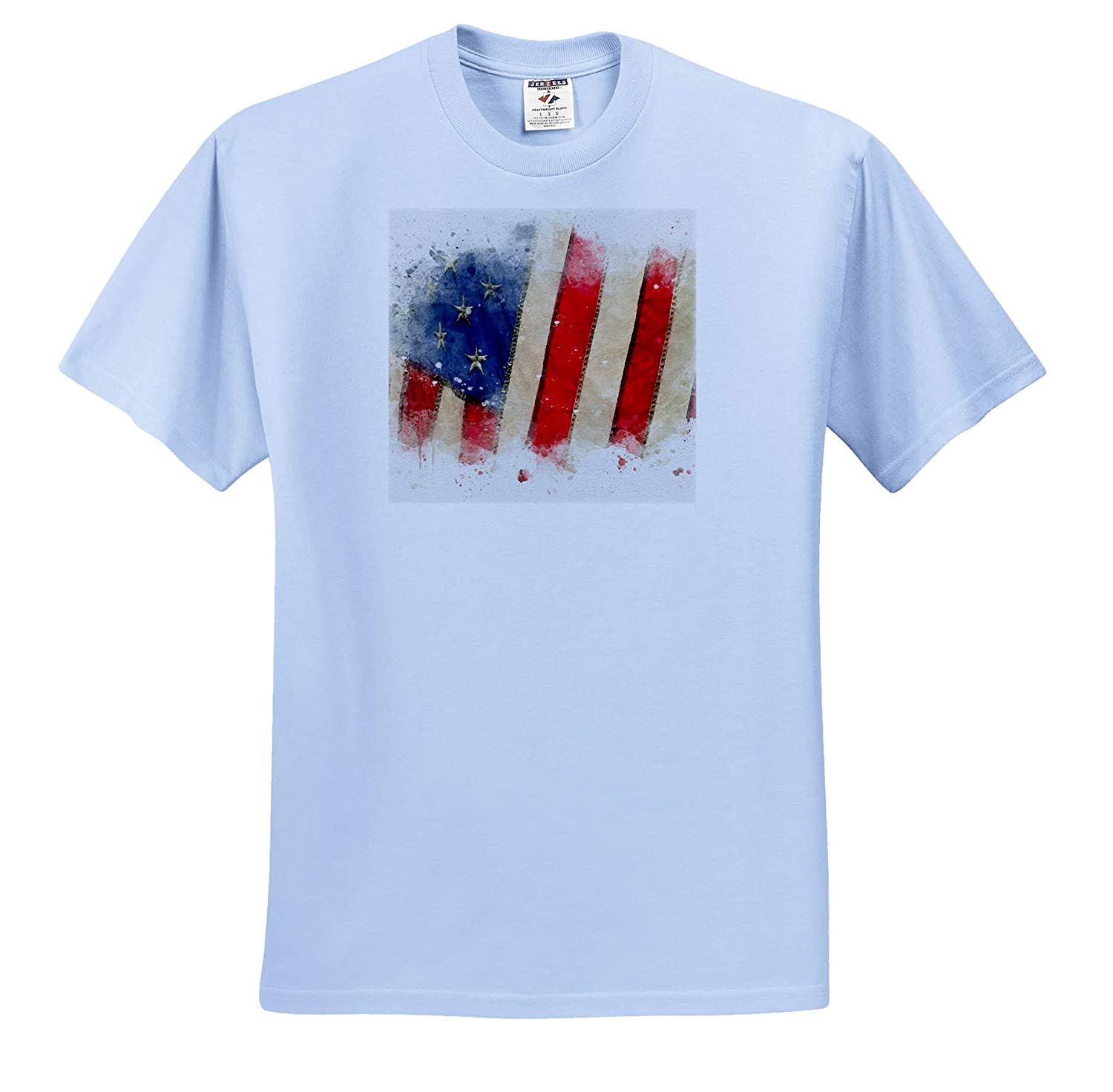 Image of Watercolor USA Flag Art ts/_318693 Adult T-Shirt XL 3dRose Anne Marie Baugh Impressionist Mixed Media Art