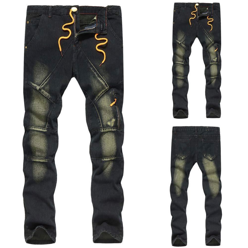 NEARTIME Mens Hole Staircase Denim Cotton Vintage Wash Hip Hop Work Trousers Jeans Pants