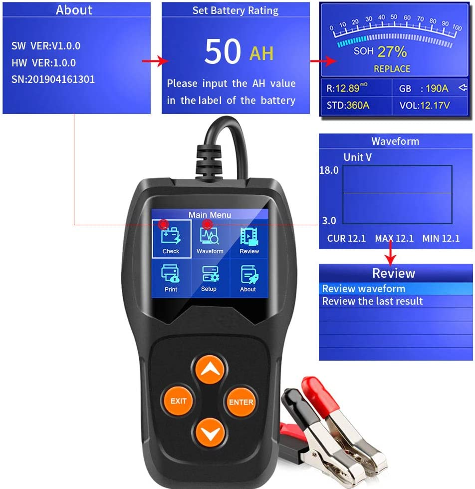 Reaven Professionelle 12 V 100-2000 CCA 220AH Autobatterie Tester Digital Analyzer Bad Cell Test Tool f/ür Auto//Boot//Motorrad