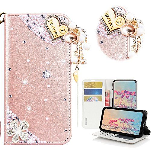 - STENES Moto Z3 Case - Stylish - 3D Handmade Bling Crystal Heart Pendant Flowers Design Magnetic Wallet Credit Card Slots Fold Stand Leather Cover for Motorola Moto Z3 - Pink