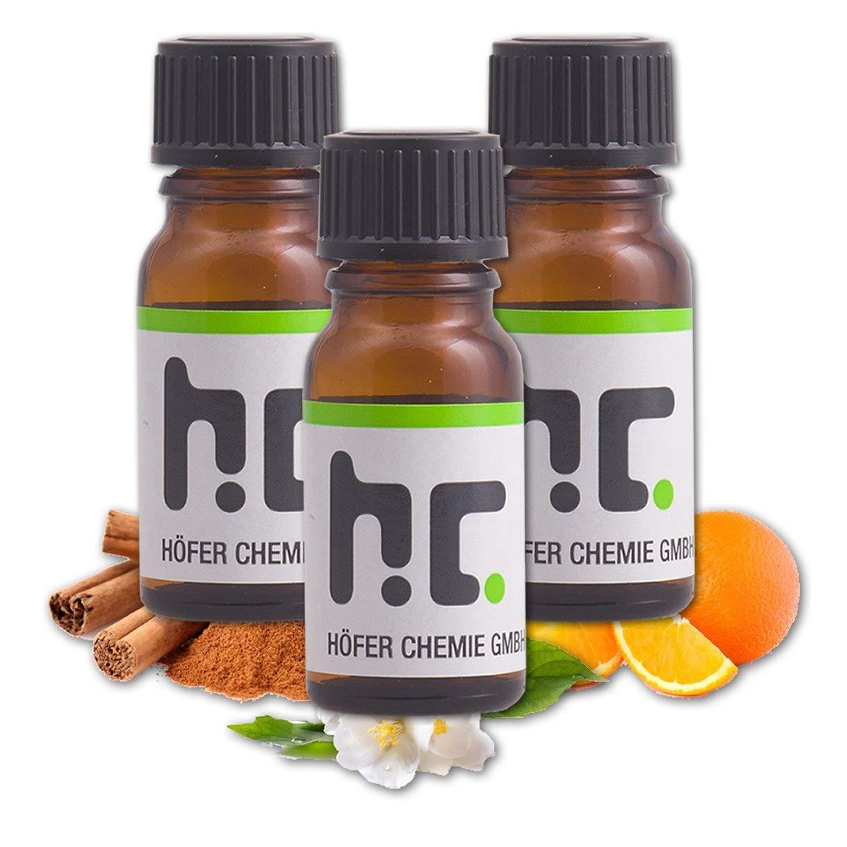 set d'huiles essentielles n°3 - citron, fleur de jasmin, orange et cannelle - FRAIS DE PORT OFFERT Höfer Chemie GmbH
