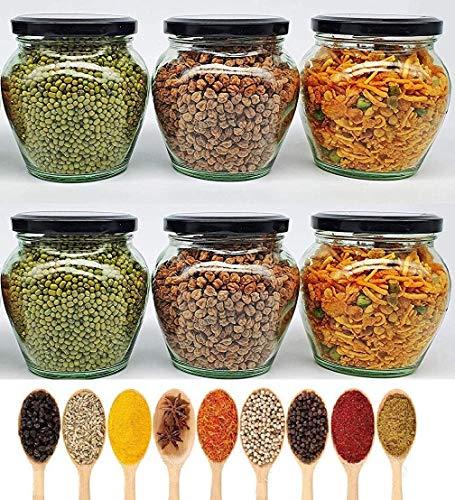 PRAMUKH FASHION Glass Jar- 400 ml, 6 pieces, Multicolor