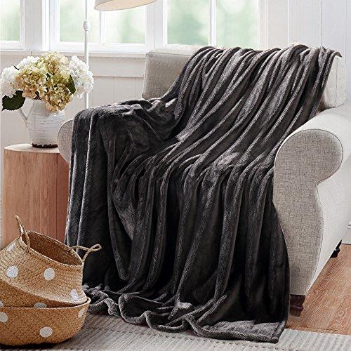 Reafort Ultra Soft Flannel Fleece All Season Light Weight Living Room/Bedroom Warm Throw/Blanket(Dark Grey, Full/Queen 90