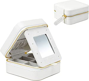 Vlando Travel Jewelry Box Organizer, Soft PU Leather Wooden Mini Mirrored Jewelry Storage Case with Zipper for Bracelets, Earrings, Rings, Necklaces -Best Gifts for Girls Women Ladies (White)