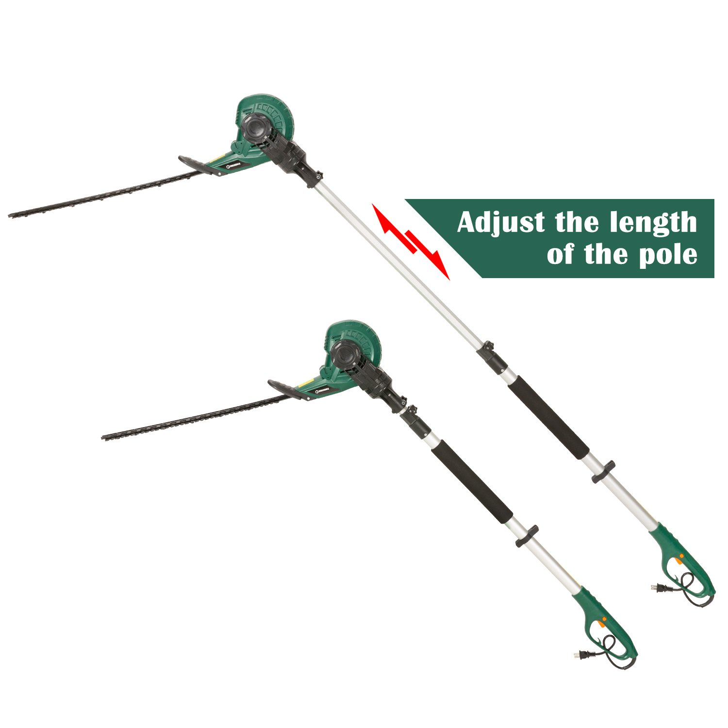 DOEWORKS Corded 2 in 1 Multi-Angle Cutting Telescopic Electric Hedge Trimmer on Pole, 18'' Dual Steel Blade