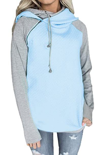 JackenLOVE Damen Sweatshirt Langarm Rollkragen mit Reißverschluss Hoodies  Pullover Kampffarbe Kapuzenpullover Pulli Outerwear  Amazon.de  Bekleidung dd0cabaa41