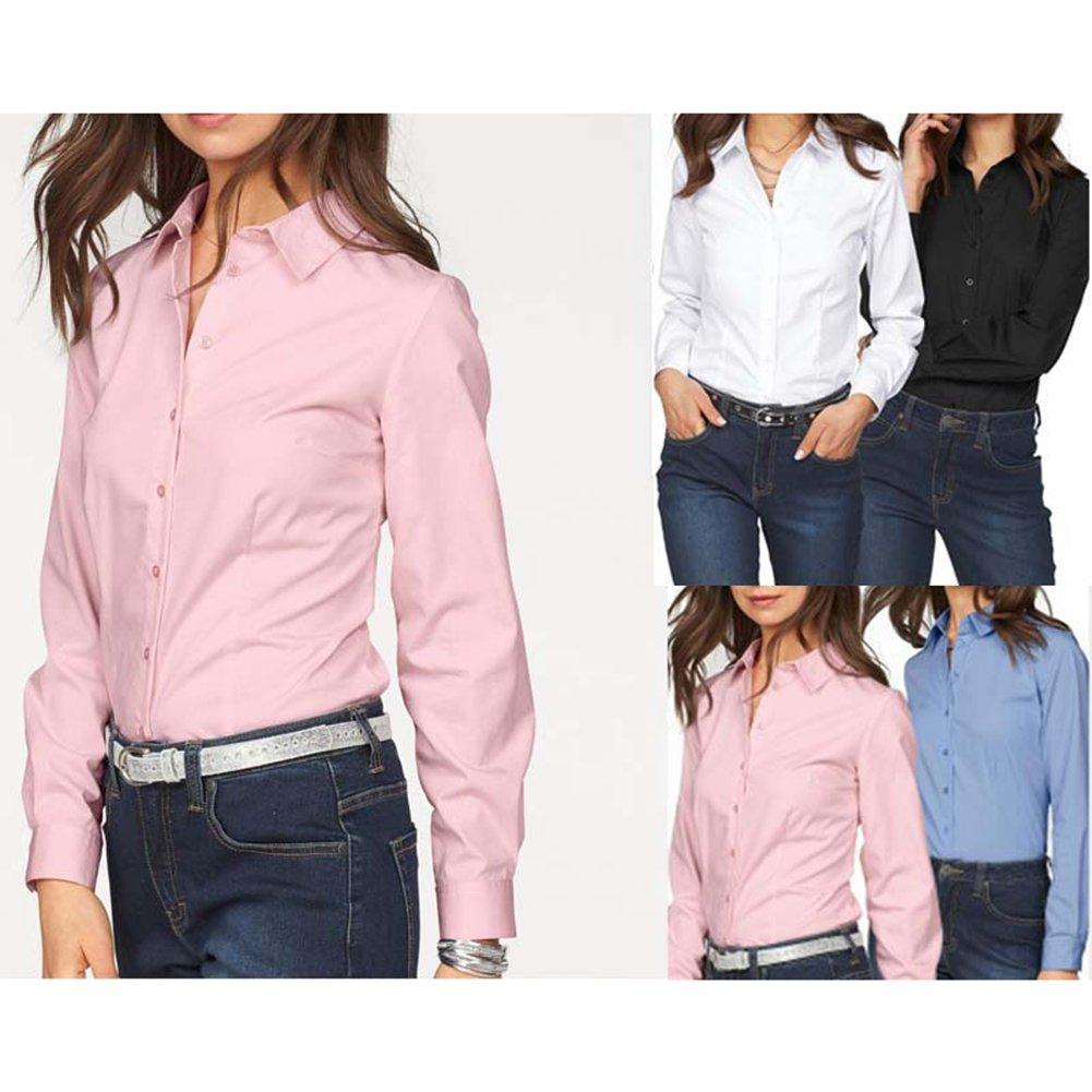 Hibote Blusas Otoño Mujer Camisas Manga Larga Oficina Camisas Damas Trabajo Negocios Camisas Formales Blanco Negro Rosa Azul S-XL: Amazon.es: Ropa y ...