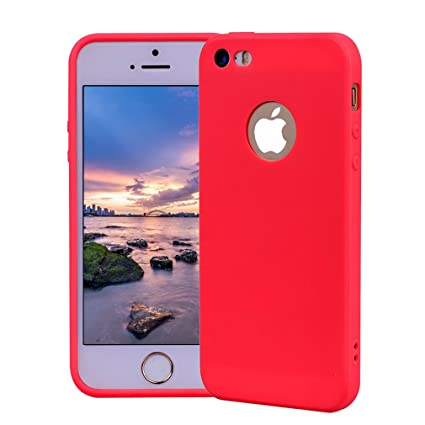 Funda iPhone 5, Carcasa iPhone 5S Silicona Gel, OUJD Mate Case Ultra Delgado TPU Goma Flexible Cover para iPhone 5/SE - Rojo