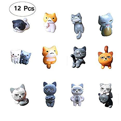 Tofover Accesorios de jardín en Miniatura, 12 Piezas de macetas de Gatos para decoración de