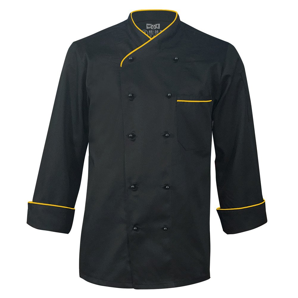 10oz Apparel Long Sleeve Black Chef Coat with Gold Piping M