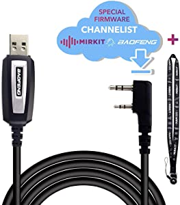 Baofeng Programming Cable for UV-5R and UV-82 for Two Way Ham Portable Radios: UV-5R,5RA,5R Plus,5Re,BF F8HP, BF-888S, UV82HP, 5RX3 and Lanyard Mirkit