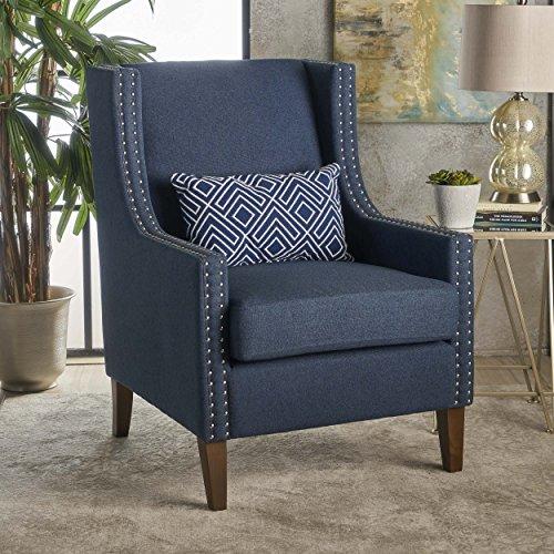 Christopher Knight Home 301464 Kason Studded Fabric Arm Chair Navy Blue Walnut