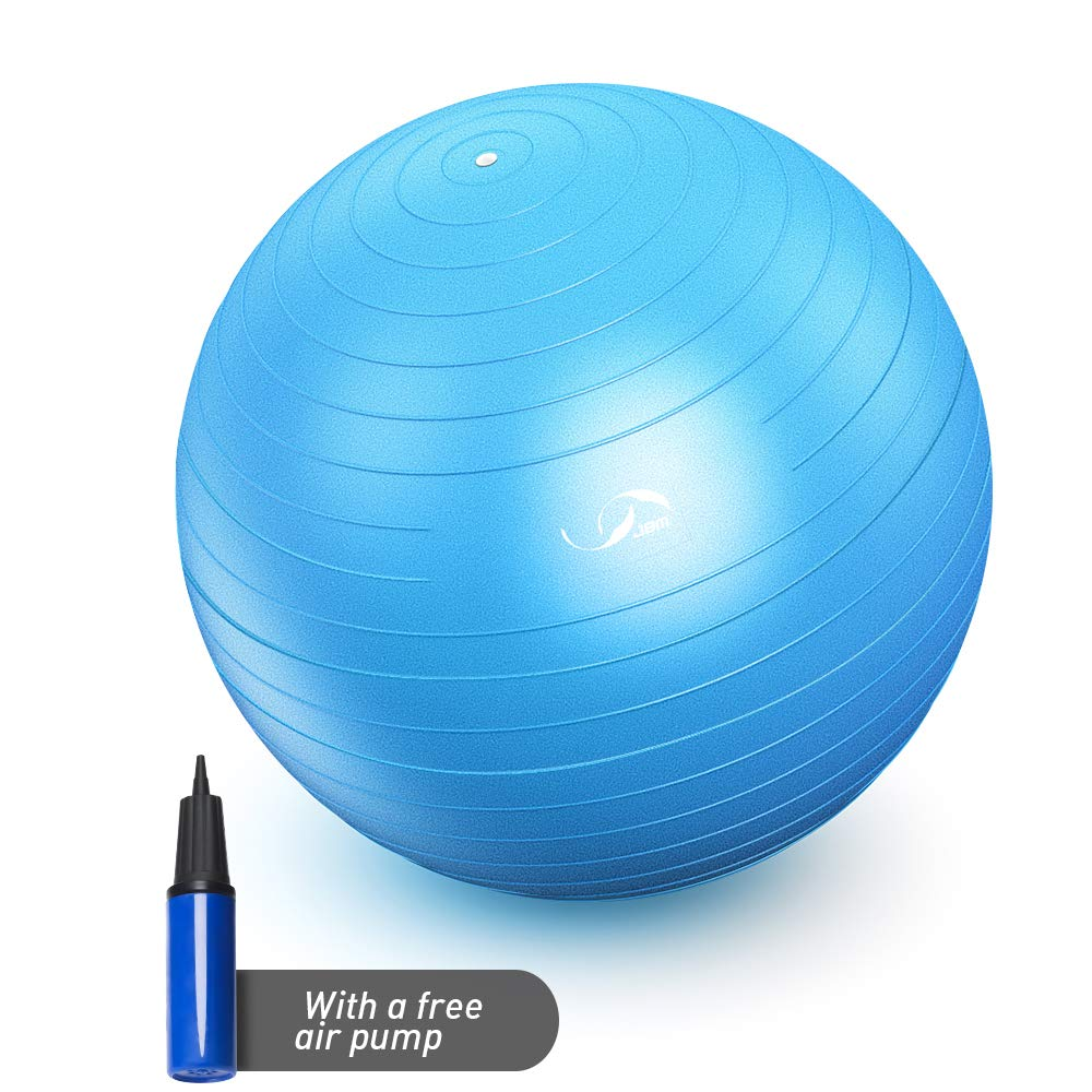JBM Exercise Yoga Ball with Free Air Pump (4 Sizes 5 Colors) 400 lbs Anti-Burst Slip-Resistant Yoga Balance Stability Swiss Ball for Fitness Exercise Training Core Strength (Blue, 50-55cm) by JBM