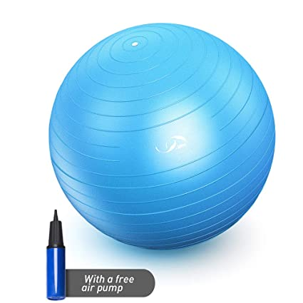 JBM Exercise Yoga Ball with Free Air Pump (4 Sizes 5 Colors) 400 lbs Anti-Burst Slip-Resistant Yoga Balance Stability Swiss Ball for Fitness Exercise ...