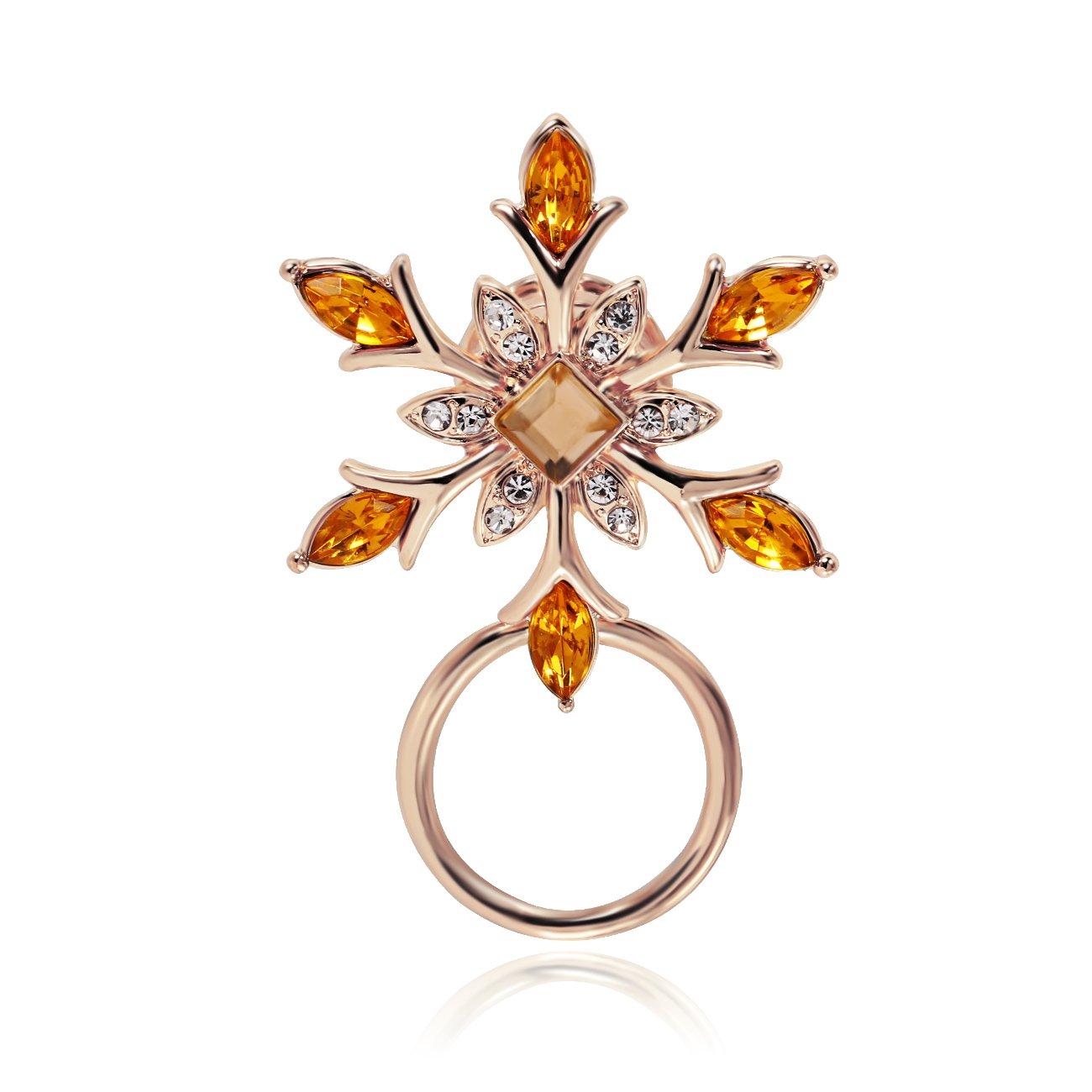 PANGRUI Winter Holiday Snowflake Flower Brooch Magnetic Eyeglasses Holder (Rose Gold)
