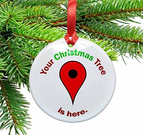 Funny Google Locator Ceramic Ornament