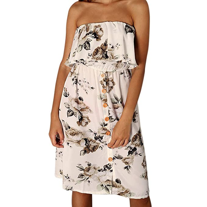 Briskorry Top de Tubo para Mujer Dress con Hombros Descubiertos Fiesta Vestido para Mujer Alta Cinturilla Faldas Bohemio Vestidos de Playa: Amazon.es: Ropa ...