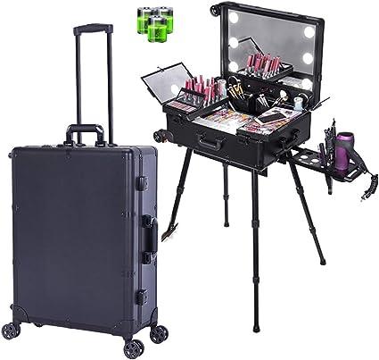 4 en 1 Aluminio Trolley de belleza Maquillaje Bolsa de cosméticos Estuche de tocador Peluquería Nail Art Salon Box,Negro: Amazon.es: Belleza