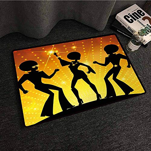 DILITECK Front Door Mat Large Outdoor Indoor 70s Party Dancing People in Disco Night Club with Afro Hair Style Bokeh Backdrop Machine wash/Non-Slip W20 xL31 Orange Yellow Black