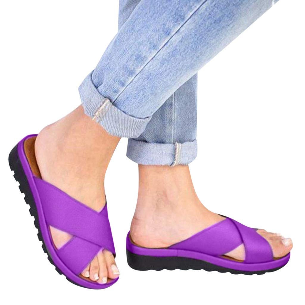Sanyyanlsy Woman Solid Color Cross Peep Toe Slippers Wedge Low Platform Gladiator Slides Non-Slip Slip On Slipper Indoor Purple by Sanyyanlsy