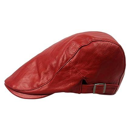 Fablcrew Vintage Cappello in Pelle Artificiale Uomo Newsboy Caldo Berretto  Baschi Uomini Invernale Size 55- 540f6fbc9e53