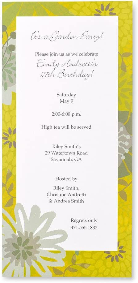 Lime & Blue Floral Print at Home Invitations
