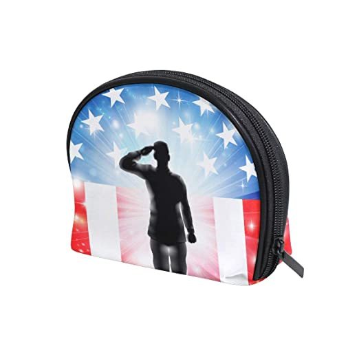 Amazon.com : VAMIX American Flag Soldier Half Moon Cosmetic Makeup Toiletry Bag Pouch Travel Handy Purse Organizer Bag for Women Girls : Beauty