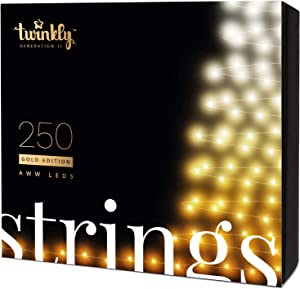 Twinkly Smart Decorations Custom LED String Lights Gold Edition – App Controlled Light Strings with 250 AWW LED Lights – IoT Ready Customizable Lighting – Create or Download Light Displays