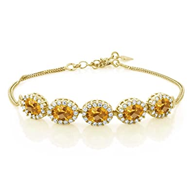 Brass Cubic Zircon 18K Yellow Gold Plated Yellow Citrine Oval Tennis Bracelet Costume Bracelets