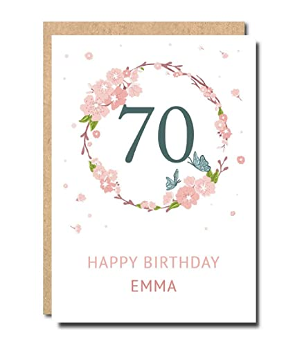 Personalised 70th Birthday Card For Women Floral Funny Sister For
