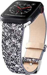 Bling Bands Compatible with Apple Watch Band 38mm 40mm 42mm 44mm Women, Iwatch Strap Shiny Bling Glitter Leather Replacement Wristband for Apple Watch Series 6 5 4 3 2 1 SE Sport Edition (Gray)