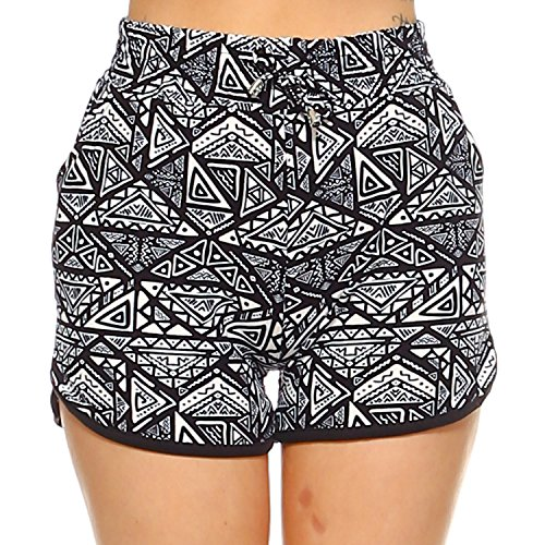 Fashionazzle Women's Casual Summer Beach Shorts Solid and Print (L/XL, PS03-Blk/wht ()