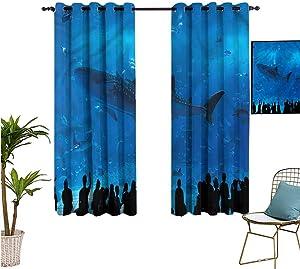 "nooweihome Shark Interior Curtains Aquarium Park and People FashionDarkeningCurtains W63"" x L45"""