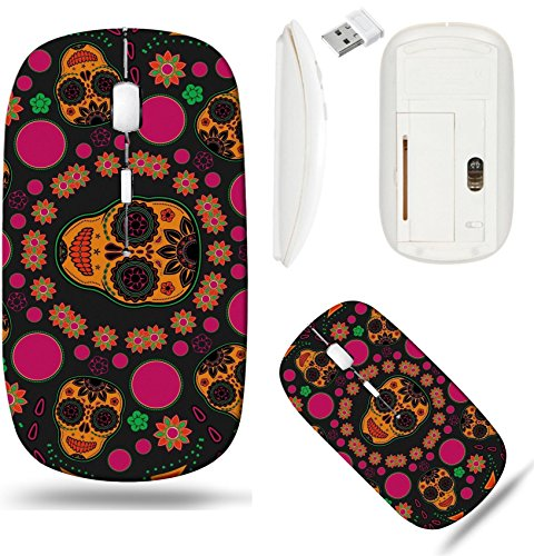 Pattern Sugar Base - Liili Wireless Mouse White Base Travel 2.4G Wireless Mice with USB Receiver, Click with 1000 DPI for notebook, pc, laptop, computer, mac book IMAGE ID: 18580043 Sugar skull pattern