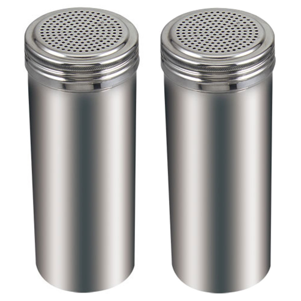 (Pack of 2) 22 Oz. Stainless Steel Dredge Salt / Sugar / Spice / Pepper Shaker by Winco