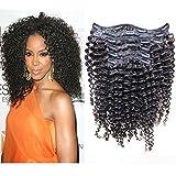 Softsilk(tm) Kinky Curly Clip in Extensions Brazilian Virgin Human Hair Natural Hair Full Set with Clips Natural Black 7pcs/lot 70g (16)