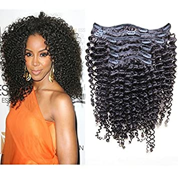 Amazon softsilky kinky curly clip in extensions brazilian softsilky kinky curly clip in extensions brazilian virgin human hair natural hair full set with clips pmusecretfo Images