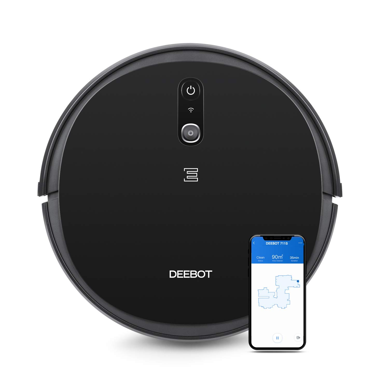 ECOVACS DEEBOT 711S Robot Vacuum Cleaner with Smart Navi 2.0 Visual Mapping, Max Power Suction, Up to 130 Min Runtime, Hard Floors and Carpets, Pet Hair, App Controls, Self-Charging, Quiet, Black