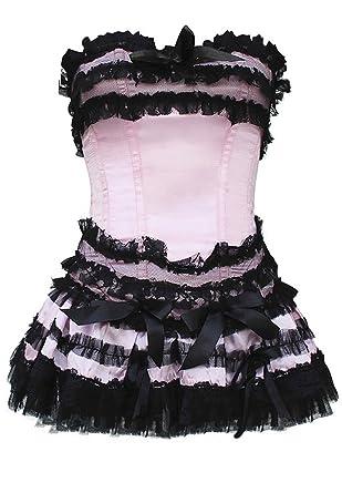 Corset rosa flote con encaje, tul y Falda de mini rosa large ...