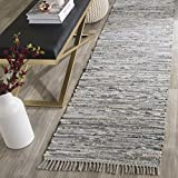 Safavieh RAR121A-27 Rag Rug Collection Hand Woven Grey Cotton Runner, 2-Feet 3-Inch by 7-Feet